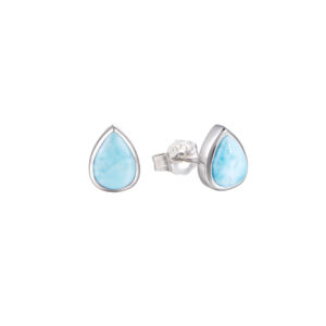 Larimar tear drop studs sterling 376-82-05S alamea