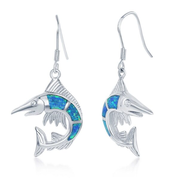 Marlin Fish Dangle Earring with Blue Opal Inlay