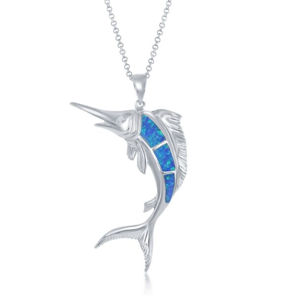 Blue Marlin Pendant with inlay blue opal Sterling Silver