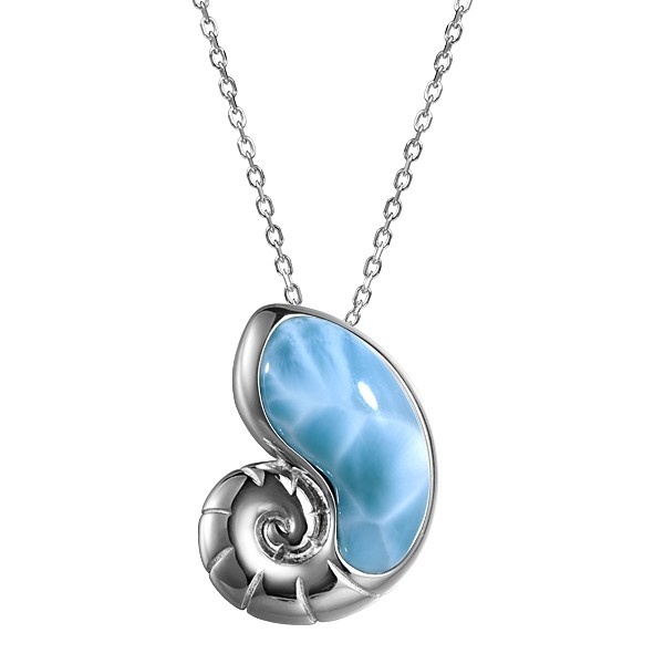 Nautilus Shell Pendant with Larimar Stone, Sterling Silver , with chain