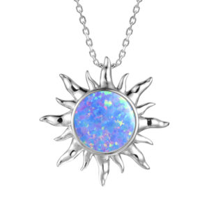 Sun Pendant with Fire Opal and Crystals, Sterling Silver ,chain