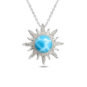 Sun Pendant with Larimar stone & Crystals, Sterling Silver chain