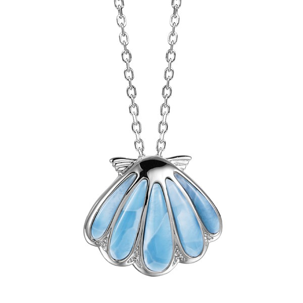 Wide Sunrise shell Pendant Larimar stone, Sterling Silver with chain