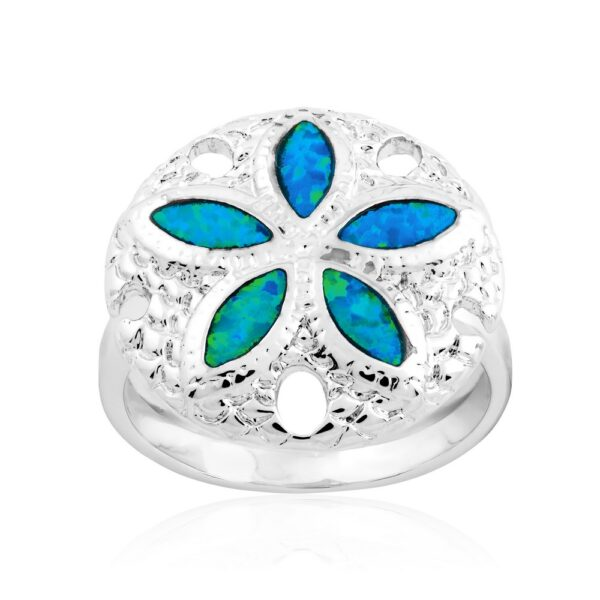 Sand Dollar Ring with blue inlay opal