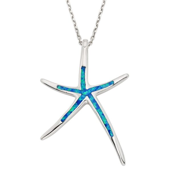 Starfish with blue inlay opal pendant Sterling Silver