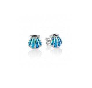 "Sunrise shell 3/8th"" blue opal inlay sterling silver stud earrings"