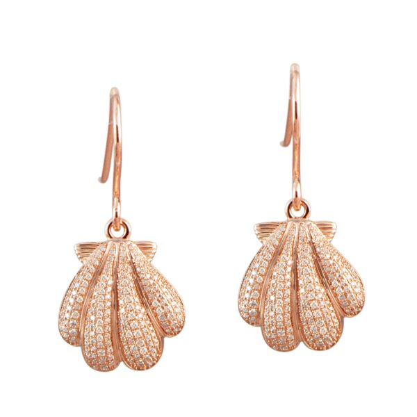 """Sunrise Shell Earring Wires with micro pave' crystals, Sterling Silver with a Rose Gold Plating 1"""""""
