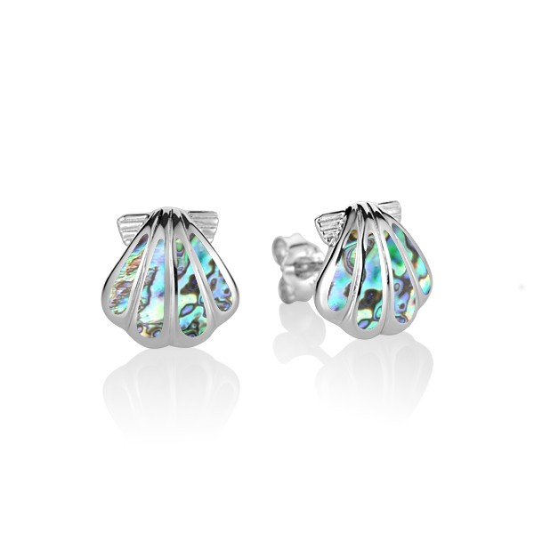 Sunrise Shell with Abalone inlay Sterling Silver Stud Earrings