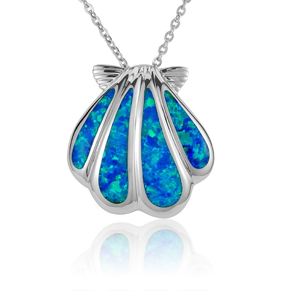 """Sunrise shell pendant, Blue Opal inlay, Sterling Silver 1"""" w/chain"""