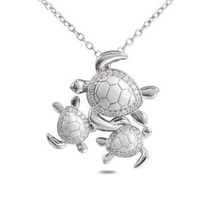 Sterling Silver Turtle Family of three with crystals , w/ chain