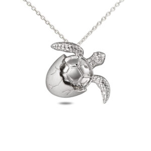 Turtle Hatching Pendant, Sterling Silver with Chain