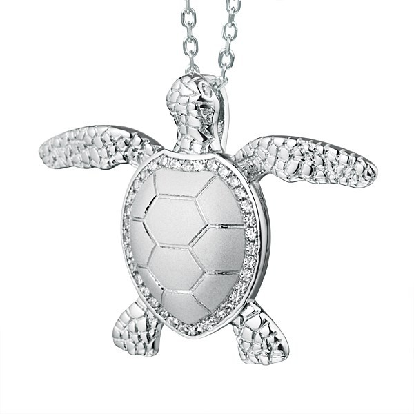 TURTLE Pendant satin back with cz's all around shell
