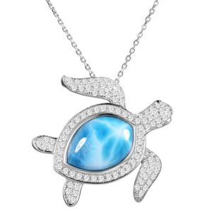 Turtle Larimar w/crystals all over the body , Sterling, w/chian