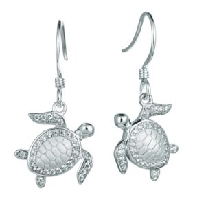 Turtle Earring Wires with pave' crystals Sterling Silver