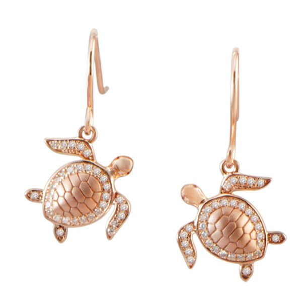 Turtle Rose placed pave' cz ear wires 250-12-03