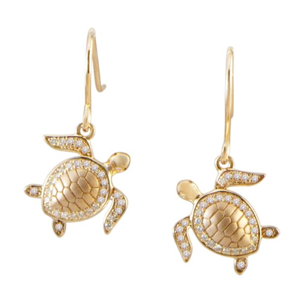 Turtle Earring Wires with pave' crystal Sterling Silver with Yellow Gold plate