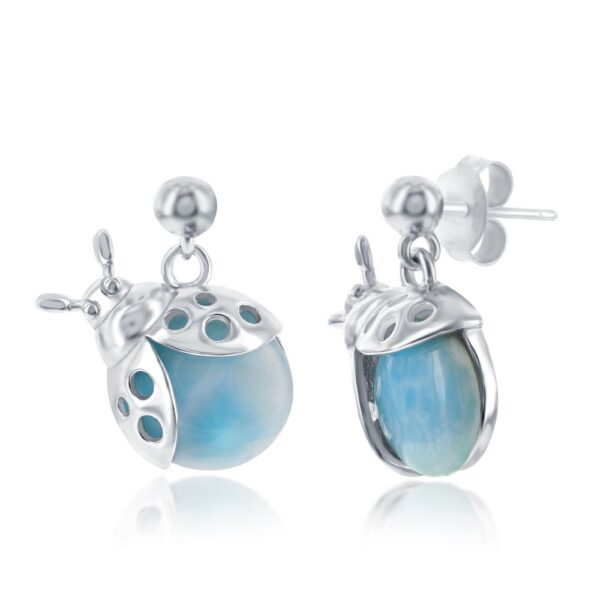 lADY bUG lARIMAR EARRINGS