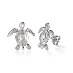 "Turtle 1/2"" sterling silver stud earrings"