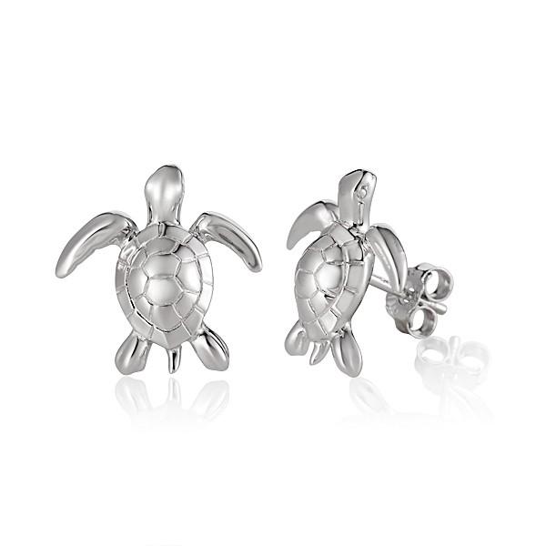 "Turtle 1/2"" sterling silver stud earrings"