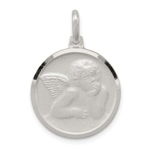 Angel Round with a satin Finish 26mm Sterling Silver Pendant