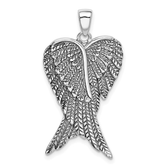 Angel Wings Antiqued 35x20mm Pendant Sterling Silver