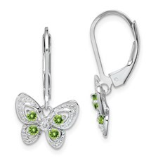 Butterfly & Peridot Sterling Silver Leverback Earrings