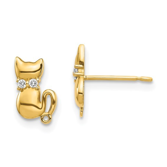 Kitty 14 karat yellow gold with two Crystals Post Earrings