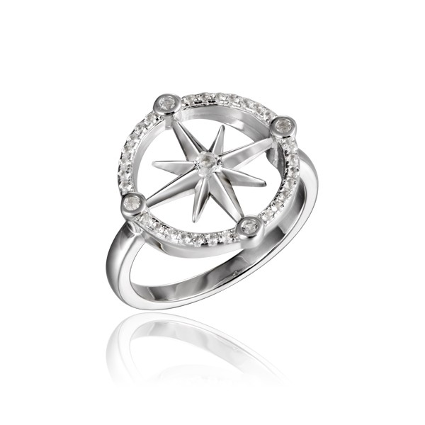 Compass Ring with Crystals high polished