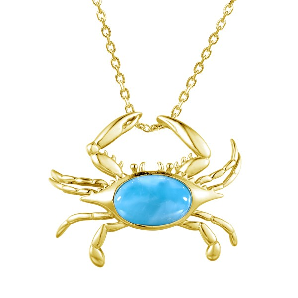 Crab Pendant 14KY Larimar Stone 15mm both claws up (no chain)