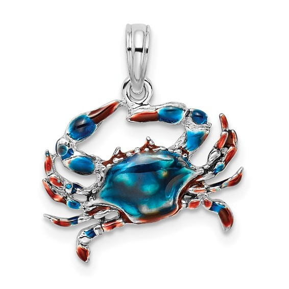 Crab Pendant Hand Enameled Sterling silver