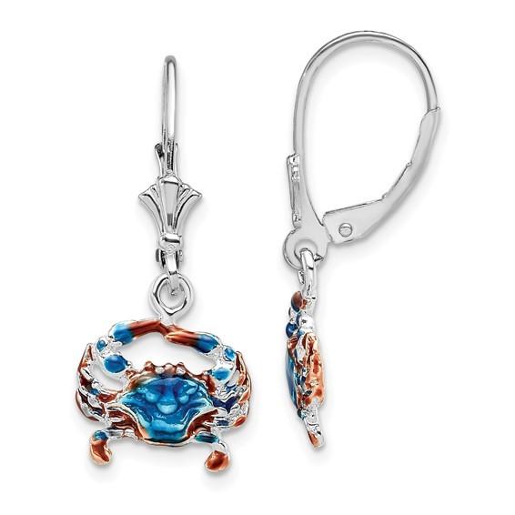 Crab enameled leverback Sterling Silver Earrings