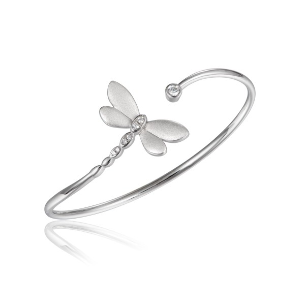 Dragonfly with a Satin Finish, Crystals and Sterling Silver Cuff Bracelet
