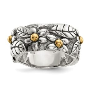 Flower & Leaf Ring with 14KY berries & Sterling Silver