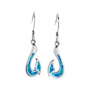 Fish hook dangle earrings & blue Opal Sterling Silver