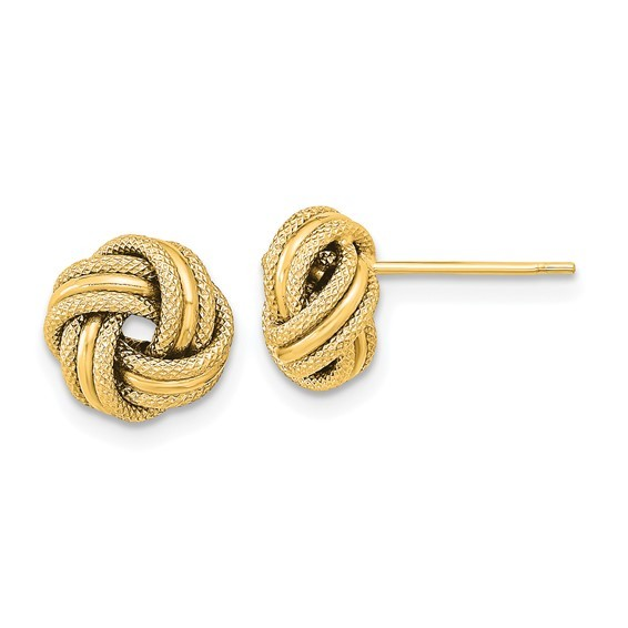 Knot 14K Yellow gold 9mm Post Earrings with ropes and high polished finish