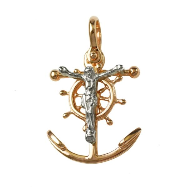 Cross Mariners with a shackle bail 14 karat yellow and white gold