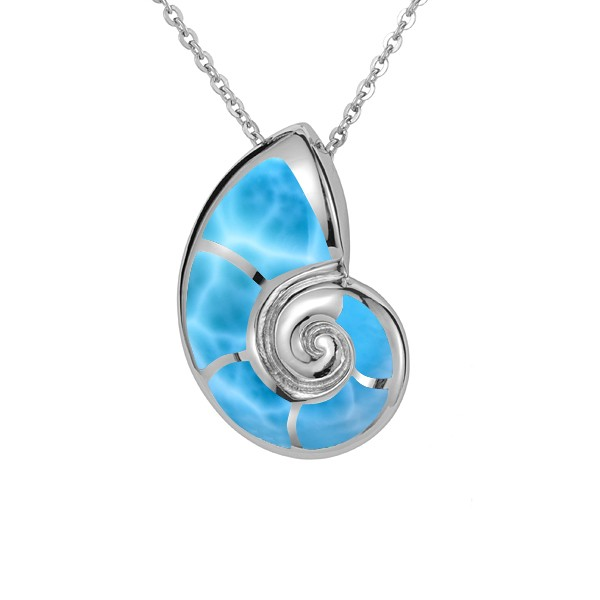 Nautilus, Larimar, shell Pendant, Pendant ,chain