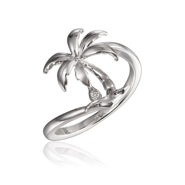 Palm Tree Ring High Polished Sterling Silver