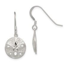 Sand Dollar, Wire ,Dangle, Earrings , Sterling Silver