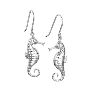 Seahorse Dangle Ear wires Sterling Silver