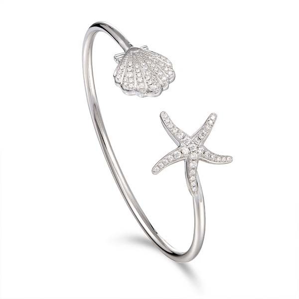 Starfish and Scallop Shell with Crystals Cuff bracelet Sterling Silver