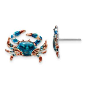 Crabs Hand Enameled Posts Sterling Silver