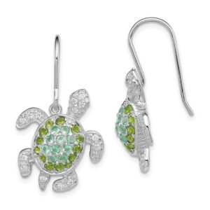 Turtle leverback earrings with green and White crystals Sterling Silver